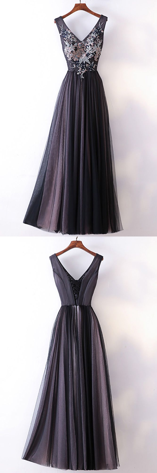 Different long black vneck cheap prom dress with lace