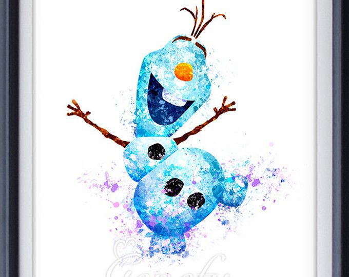 Les Enfants Disney Olaf Frozen Aquarelle Affiche Impression Wall
