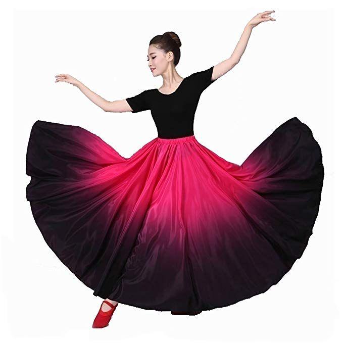 2d347430de8e Amazon.com: YOUMU Women Latin Practice Dance Big Swing Skirt Tango Cha Cha  Spanish Frill Pleated Dress Modern Ballroom: Clothing