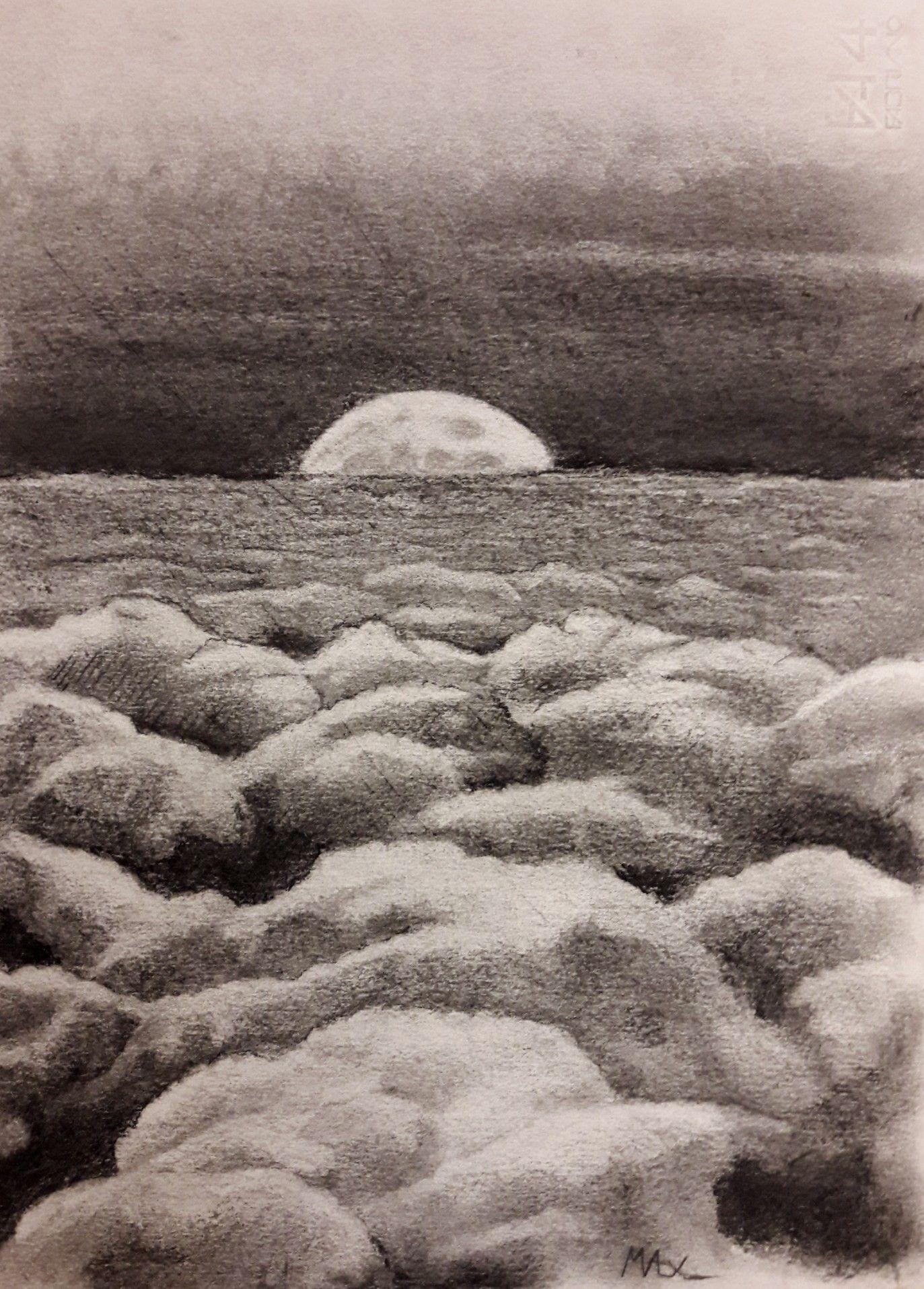 Luna Sopra Le Nuvole Carboncino Luna Tramonto Nuvole Disegno