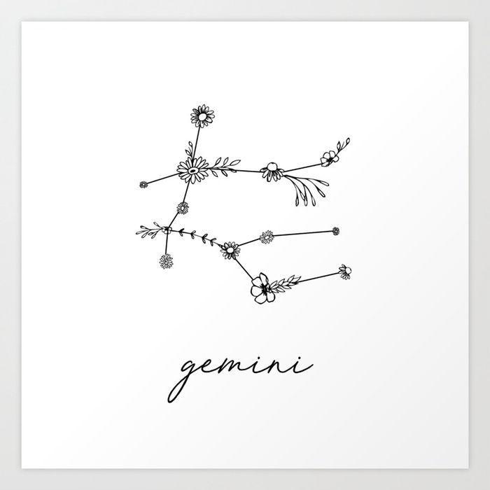 Photo of Gemini Floral Zodiac Constellation Kunstdruck von aterkaderk #constellationpiercin …