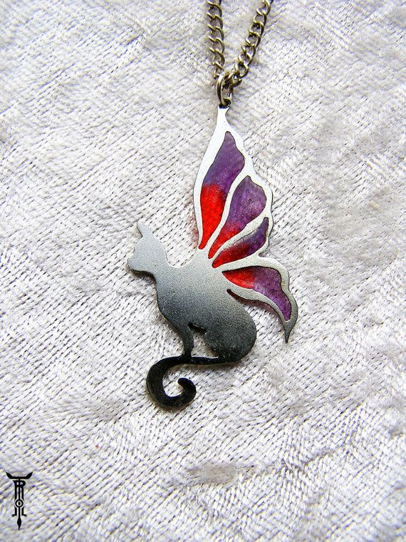 Red and Purple Butterfly Wing Cat Pendant by TrolladrielCreations, $40.00