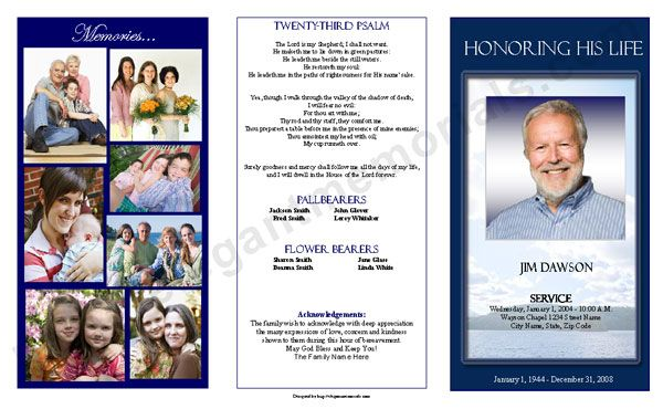 Funeral Program Cover  Trifold Funeral Program Sample Outside Cover