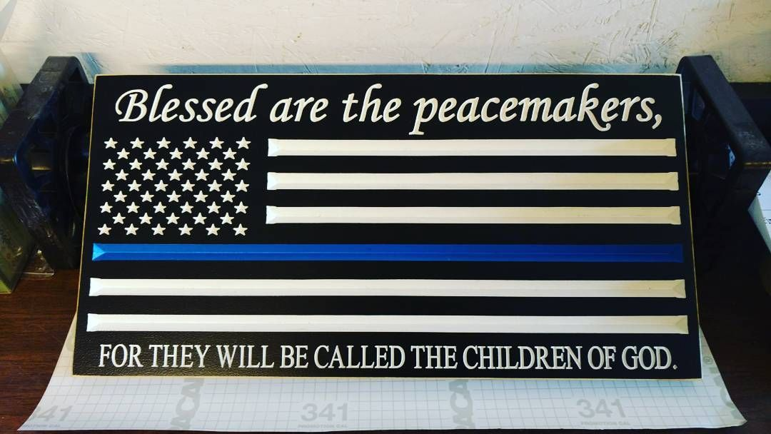 Etsy order finished and ready to ship out. This one is going to Delaware.  #policeofficers #policelivesmatter #police #policeman #policew#policewomen #policewife #policewifelife #policewives #thinblueline #backtheblue #engravedsigns #etsy #etsyseller #woodsign #woodworking #signsofspring #signsofinstagram #americanmade #boysinblue #michiganmade #usps #blessedarethepeacemakers by watchorn87