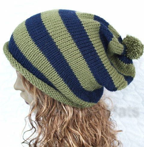 Slouchy Knitted Pompom Hat Navy and Khaki by slouchiehats on Etsy, $18.00