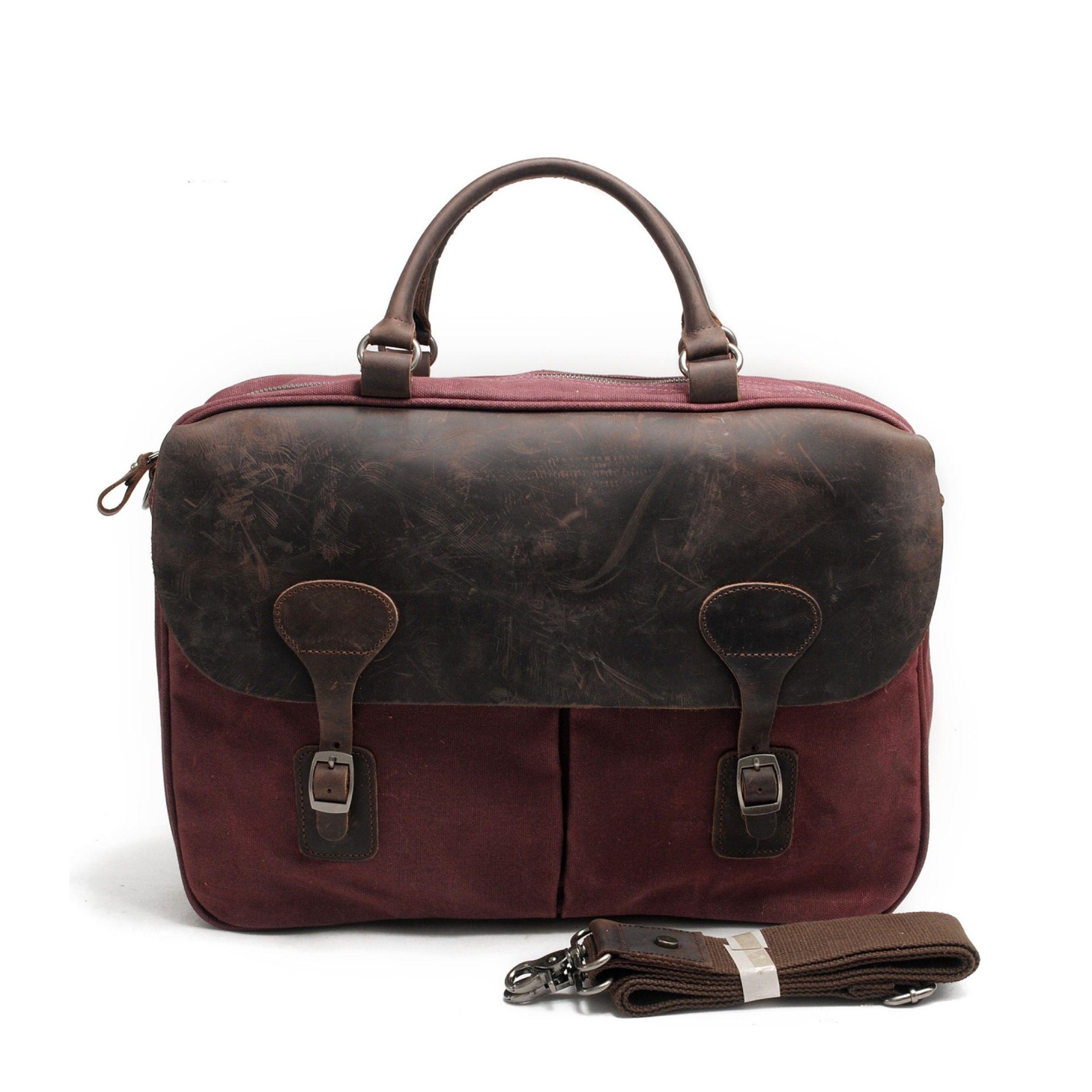 Handmade Leather Briefcase Satchel Maroon Messenger Bag Men Waxed Canvas