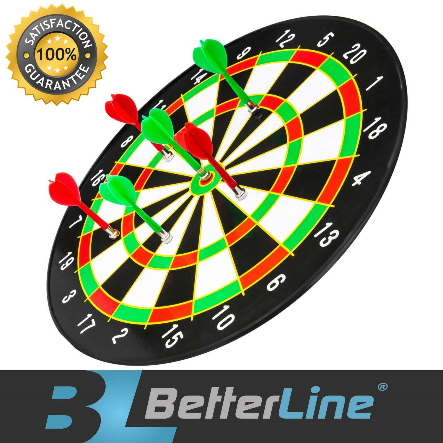 "16/"" Inch Magnetic Dart Board Dartboard Game Play For Adults Or Kids With 6 Darts"
