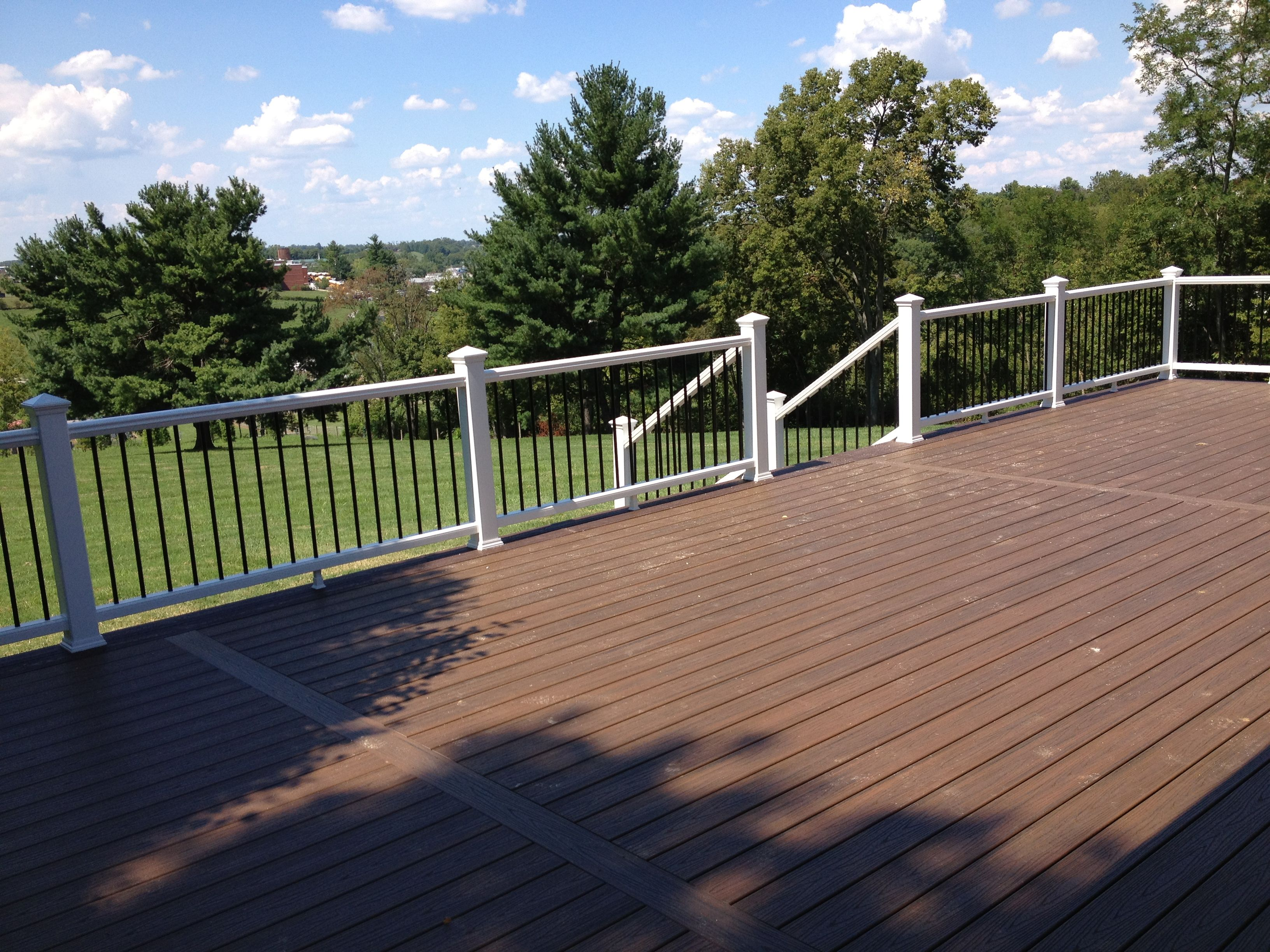 Trex transcends tropical finish spiced rum decking for Composite deck railing