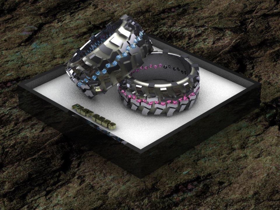 Tire tread rings by Fast Edde's 4x4 jewelry His and Hers