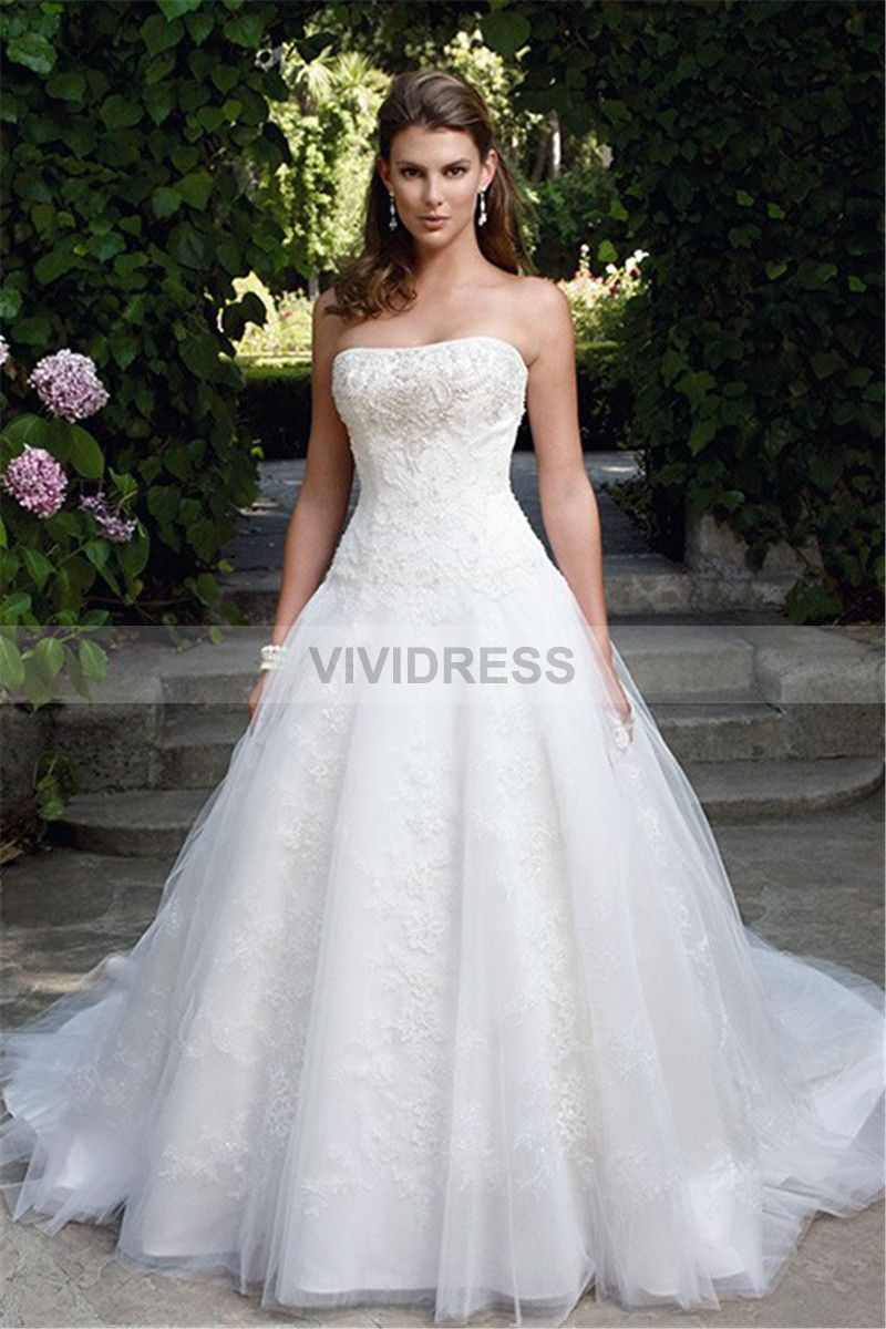 Satin backless wedding dress  Distinct Ball Gown Chapel Train Lace Sleeveless Backless Strapless