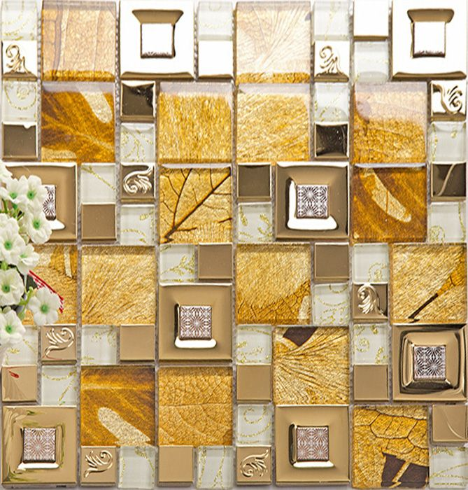 Kitchen Decorative Tiles Gold 304 Stainless Steel Tile Metal Tiles Yellow Crystal Glass