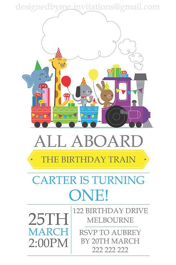 Party Zoo animals choo choo train Birthday Invitation - Digital file ...