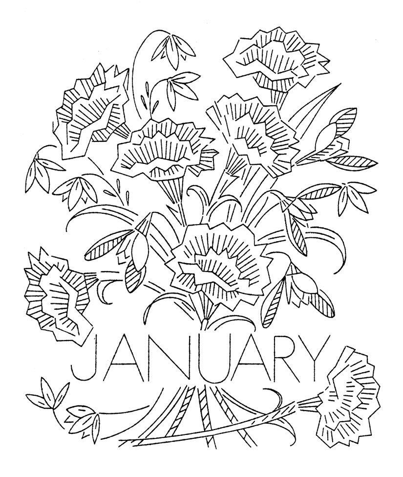 January ud carnations flowerofthemonthjan free vintage