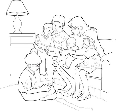 An illustration of a father sitting on a couch with his family ...