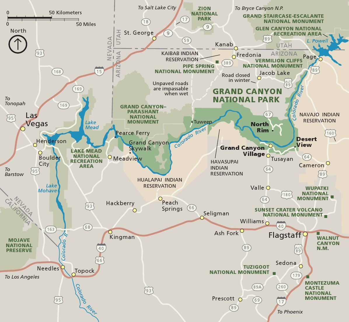 Regional Map Of The Grand Canyon Area Visit The Original Site To - Map of grand canyon