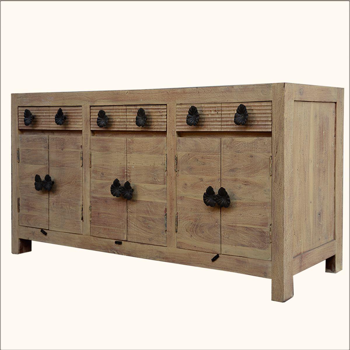 Santa Fe Black Orchid Reclaimed Wood 3 Cabinet Sideboard Buffet