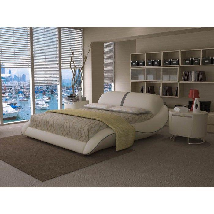 Modrest J227 Modern White & Grey Bonded Leather Bed | Recamara ...
