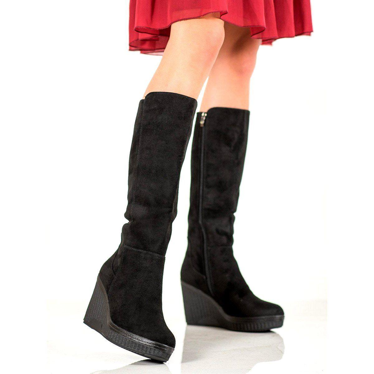 Filippo Czarne Kozaki Na Koturnie Wedge Boots Black Wedge Boots Boots