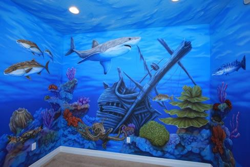 Painting Underwater Room The Painted Ceilings Give The