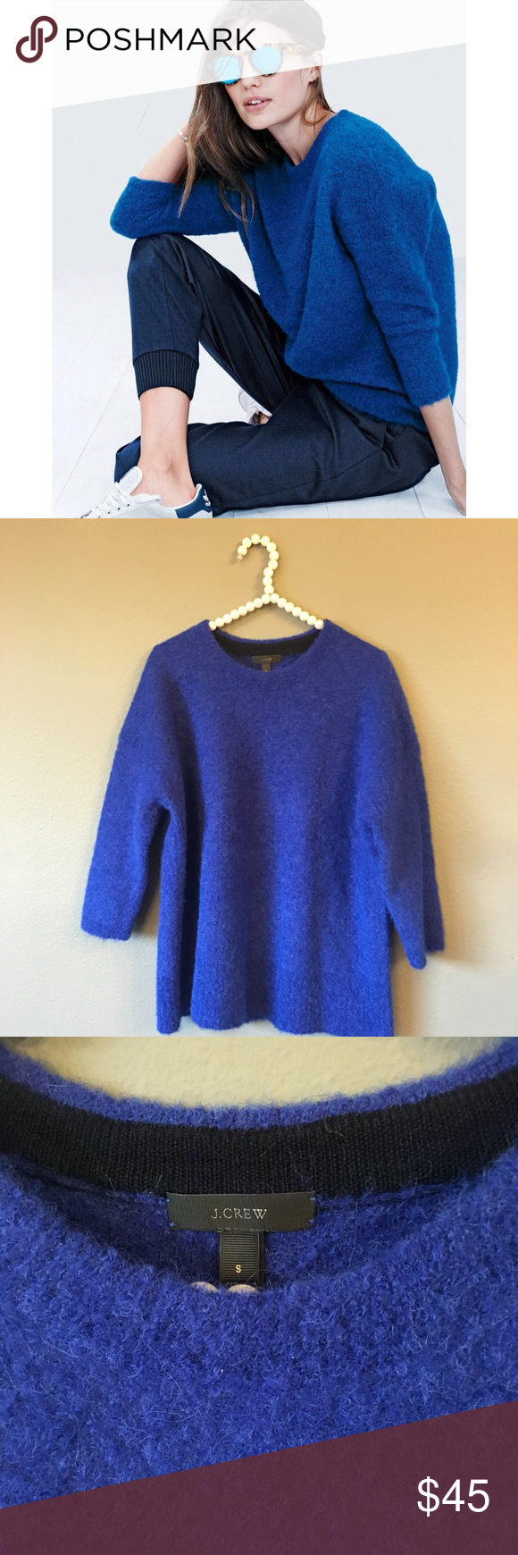 J. Crew Mohair Blue Fuzzy Pullover Sweater | Royal blue, Pullover ...
