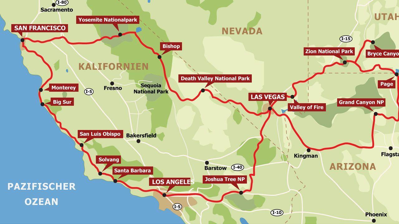 Routen Fur Den Westen Der Usa Usa Reise Kalifornien Reise Und