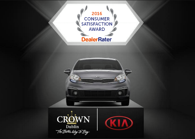 Congratulations Crown Kia Dublin on your DealerRater 2016 Consumer Satisfaction Award!