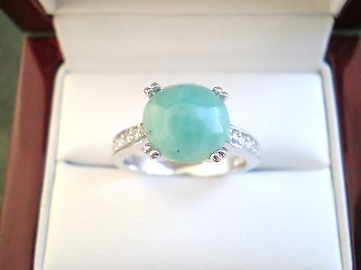 Genuine Natural Dominican Larimar Cabochon .925 Sterling Silver Ring Size 8