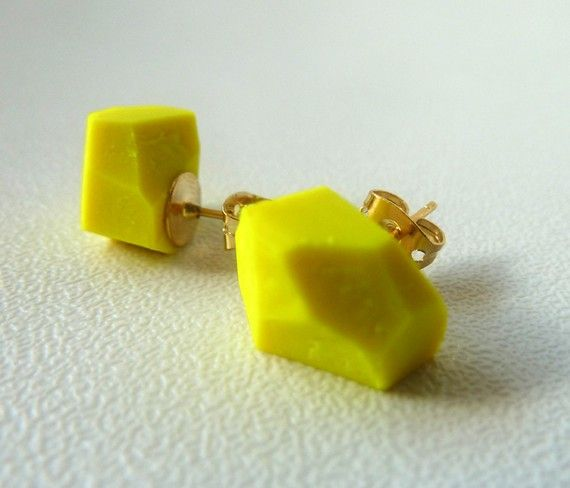 neon yellow geo earrings
