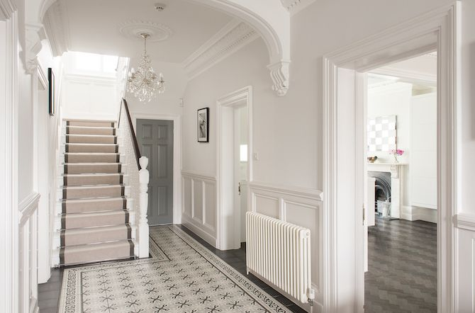 The Entrance Hall Is Clean And Fresh With Decorative Tiles That Sweep The Floor Wtinteriors Interiors Tiled Hallway Victorian Townhouse Home