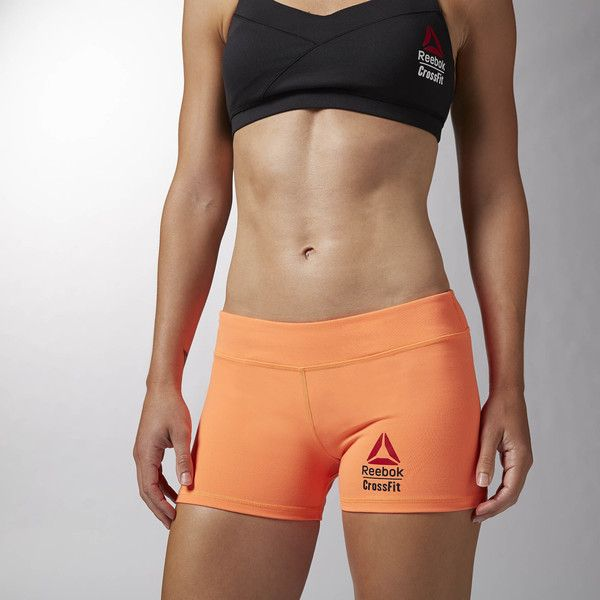 630b69e87e0 Reebok CrossFit Chase Bootie Short ($40) ❤ liked on Polyvore featuring  activewear, activewear shorts, apparel, electric peach, reebok sportswear,  reebok ...