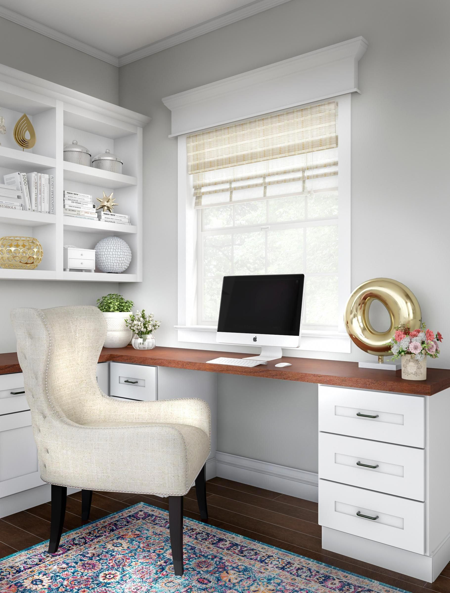 Touch Your Home Office With Golden Accents Start With Comfortable Elegance An L Shaped Desk With Home Office Design Home Office Furniture Home Office Decor
