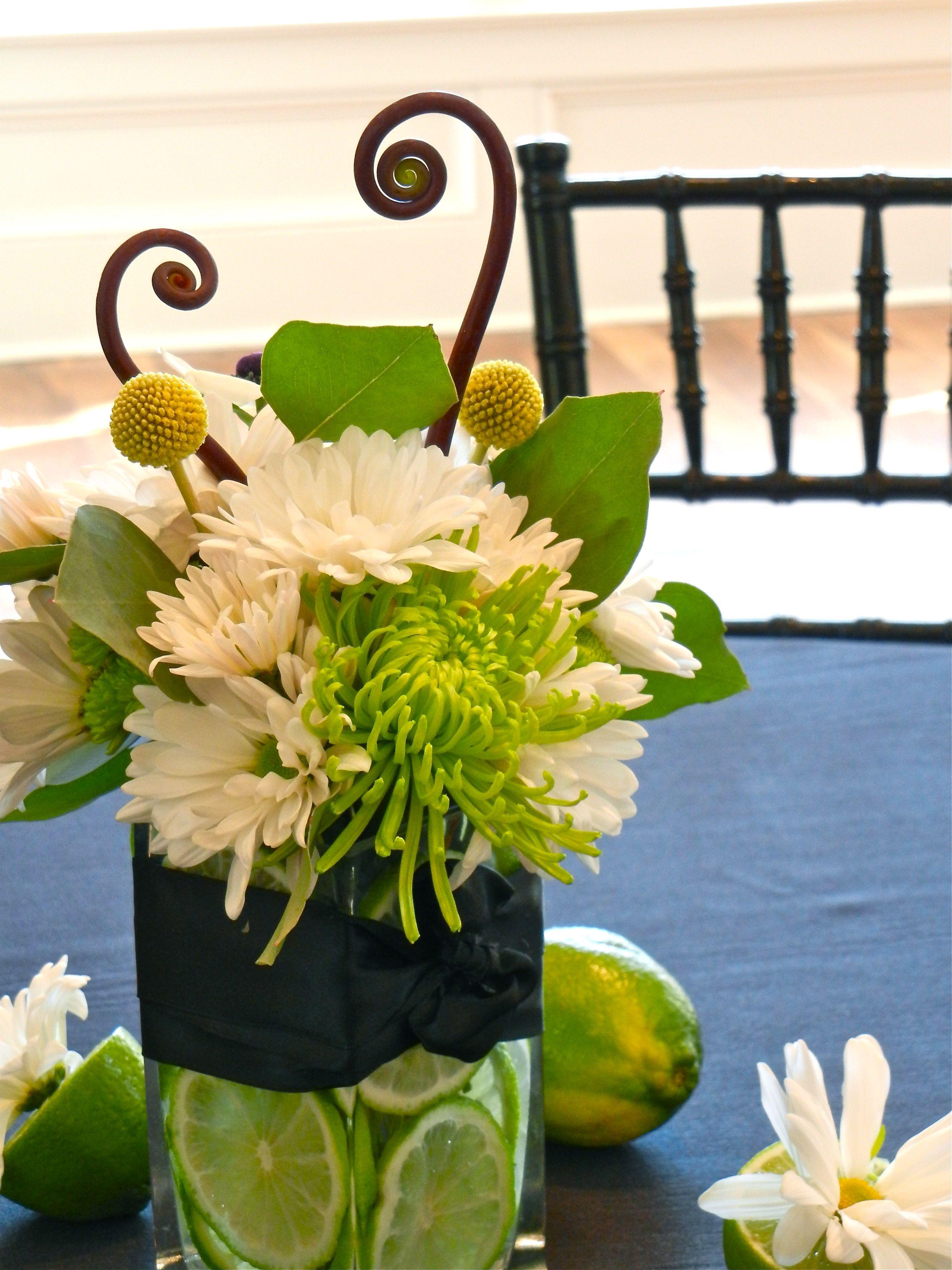 Green and White reception wedding flowers, wedding decor ...