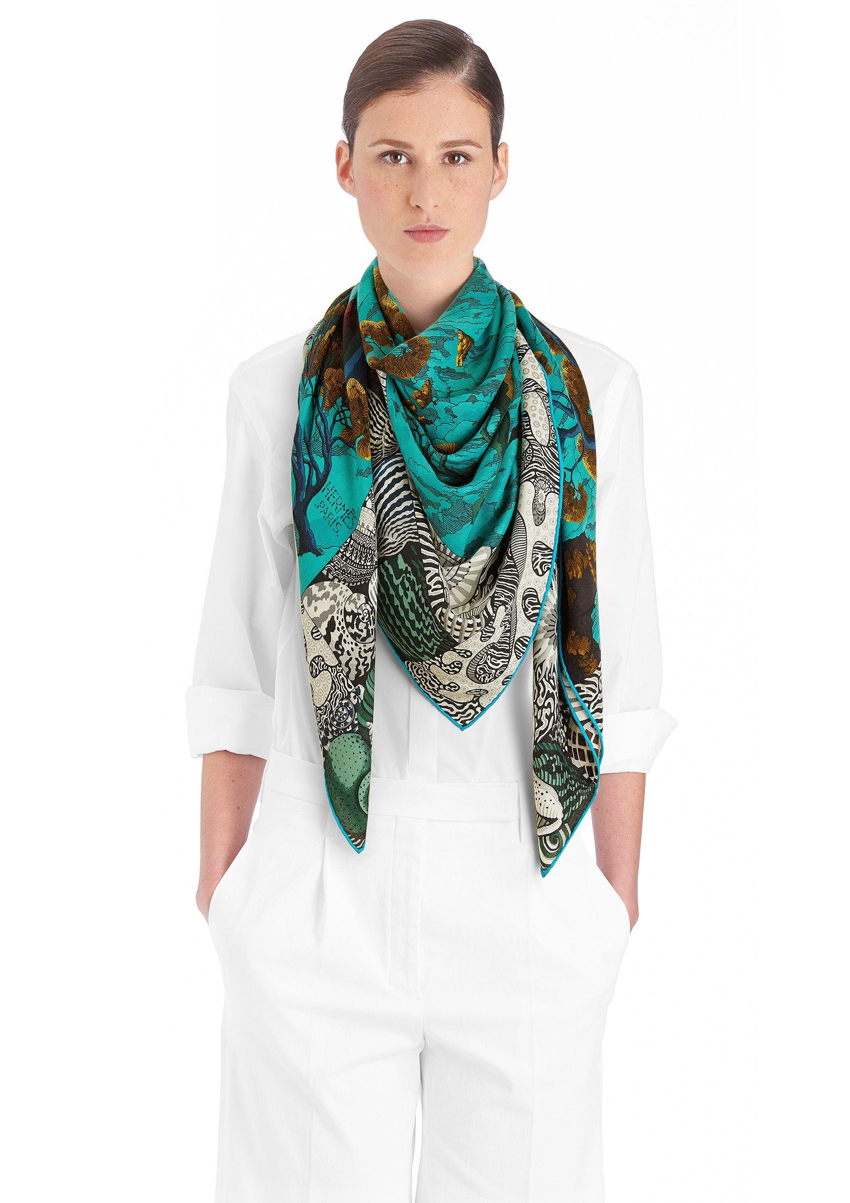 Hermès cashmere and silk shawl, hand-rolled, 55. Sieste au Paradis.  Designed by Aline Honoré. 6de042963d0