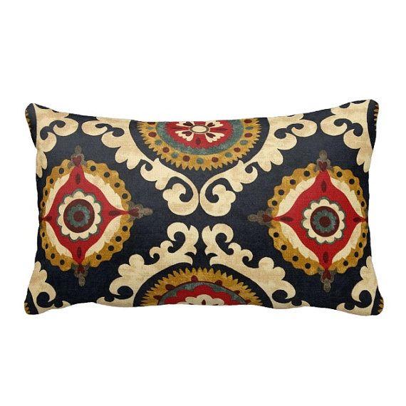 Zippered Indigo Annuzio Lumbar Throw Pillow Cover   Many Sizes
