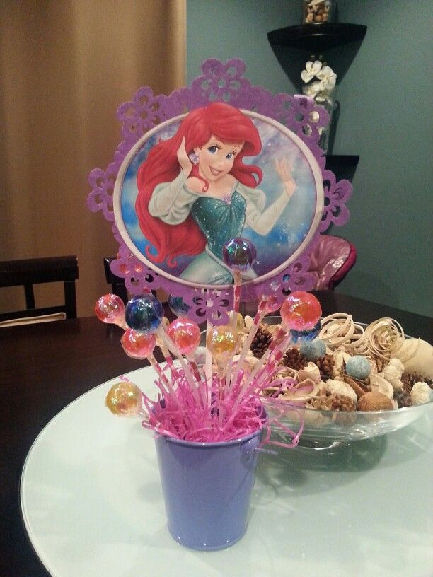 24 Little Mermaid Ariel Birthday Party Baby Shower Lollipop Stickers Princess