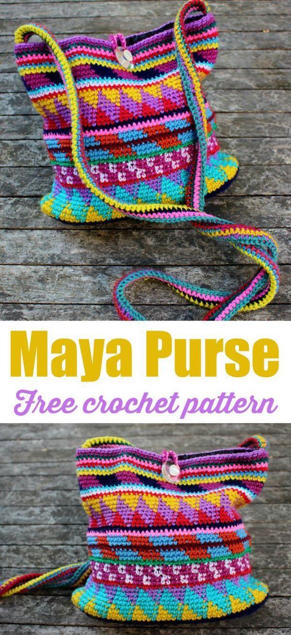 Crochet Purse Maya Pattern Free Tutorial | Tapestry crochet ...