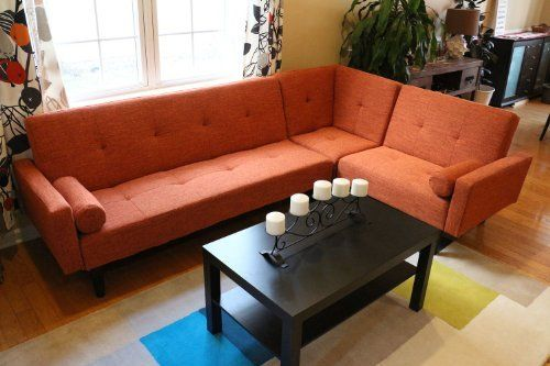 Left Right Changeable Sectional Rust Orange Modern Contemporary Upholstered  Quality Sleeper 3 Piece Sofa Set
