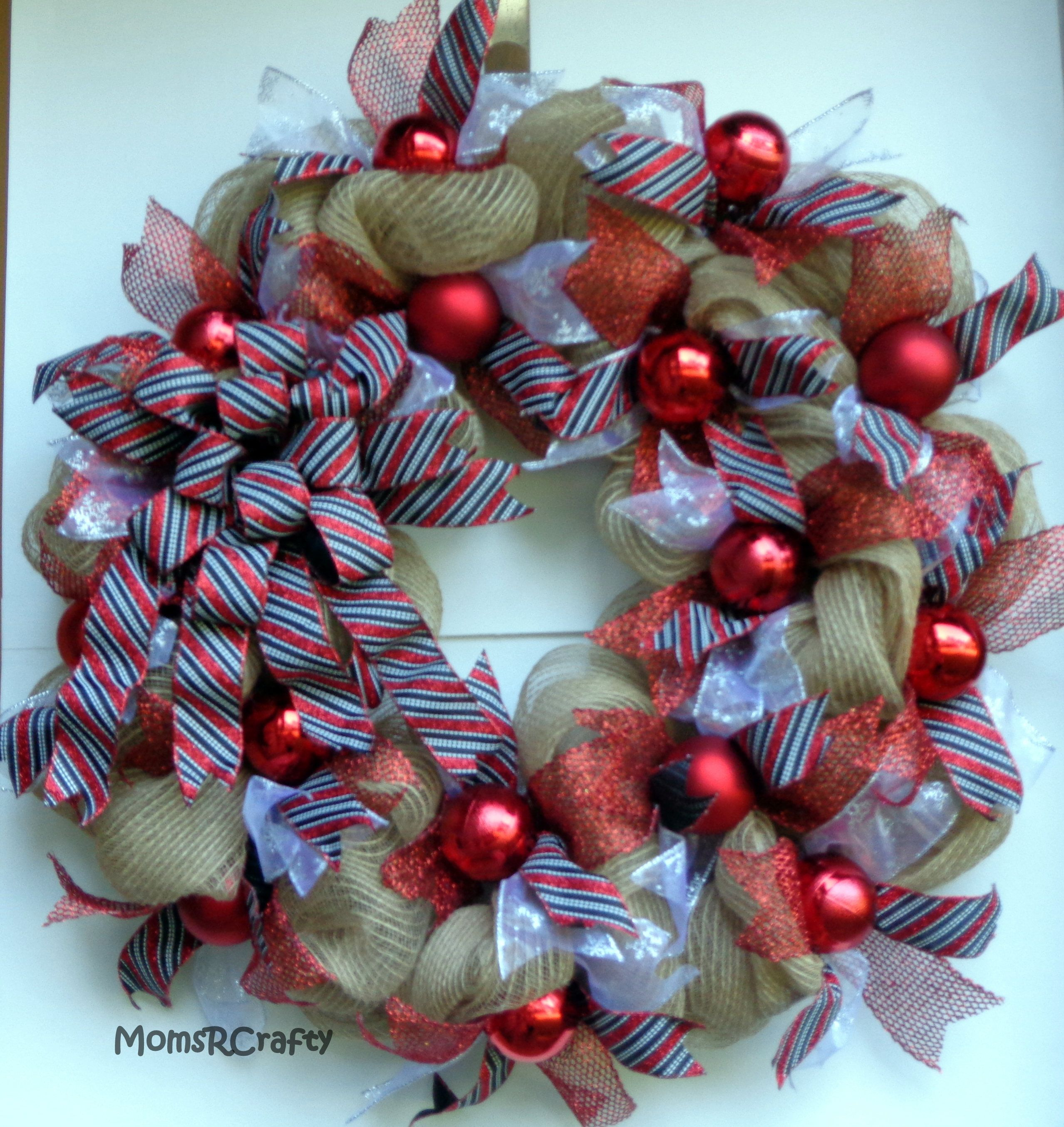 Holiday Jute Mesh Wreath, Christmas Jute Mesh Wreath, Jute Mesh Wreath, Seasonal  Wreath. Front Door ...