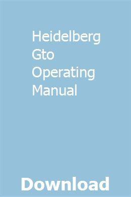 Heidelberg gto 52 service manual pdf