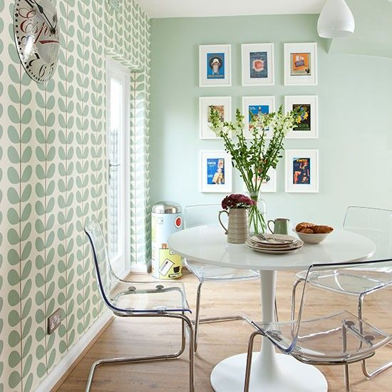 Pale green modern retro dining area