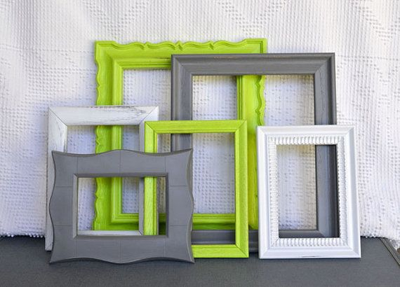 Lime green grey white frames set of 6 upcycled frames for Lime green home decorations