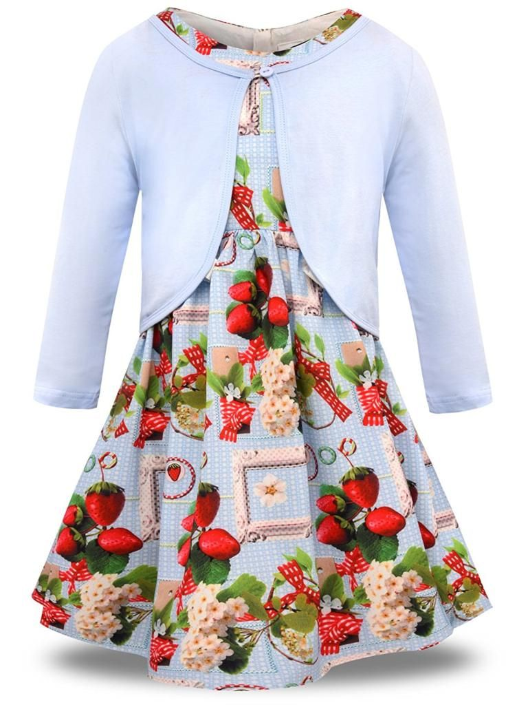 585df3f83f8f31 Bonny Billy Little Girls' Clothing Sets Flower Dress and Solid Cardigan 2  PCS Outfits