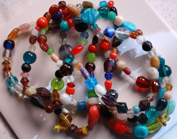 Glass Bead Mix Multi Colored 521x19mm multi by designjuncture, $4.75