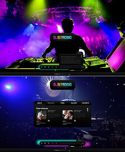 Dj Strong Flash CMS Templates By Mercury Website Entertainment