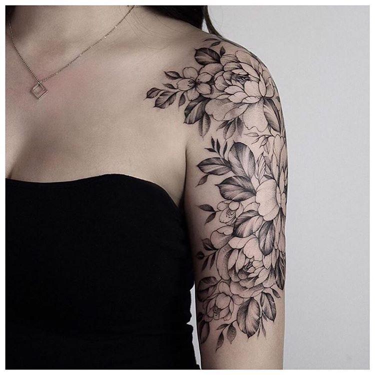 Floral Half Sleeve By Pink Ink Created Chronicink Findyourway Workproud Floral Tattoo Shoulder Half Sleeve Tattoo Upper Arm Shoulder Tattoos For Women