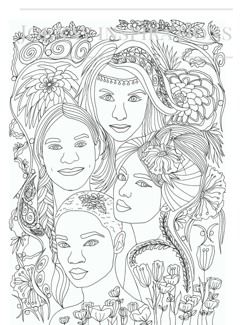Faces Of The World Adult Coloring Book