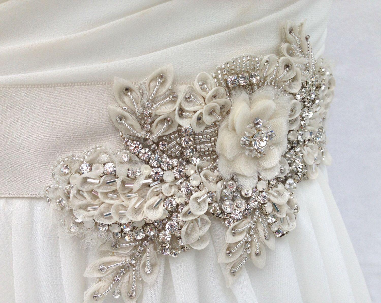 Crystal beaded bridal sash flower wedding sash wedding