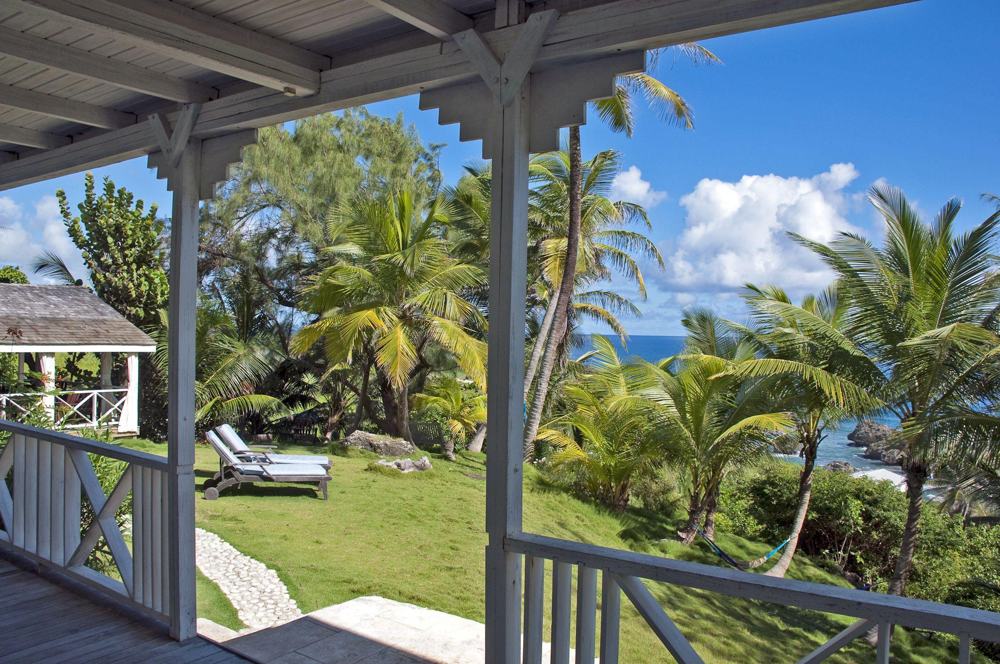 view from patio at sea-u guest house, bathsheba, barbados | sea-u