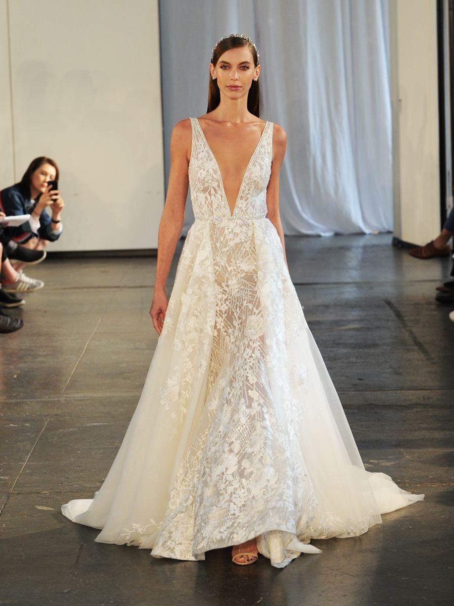 7e6ce52db1aa Berta Fall/Winter 2019 Bridal Collection: Beaded V-Neck Wedding Dress with Detachable  Skirt