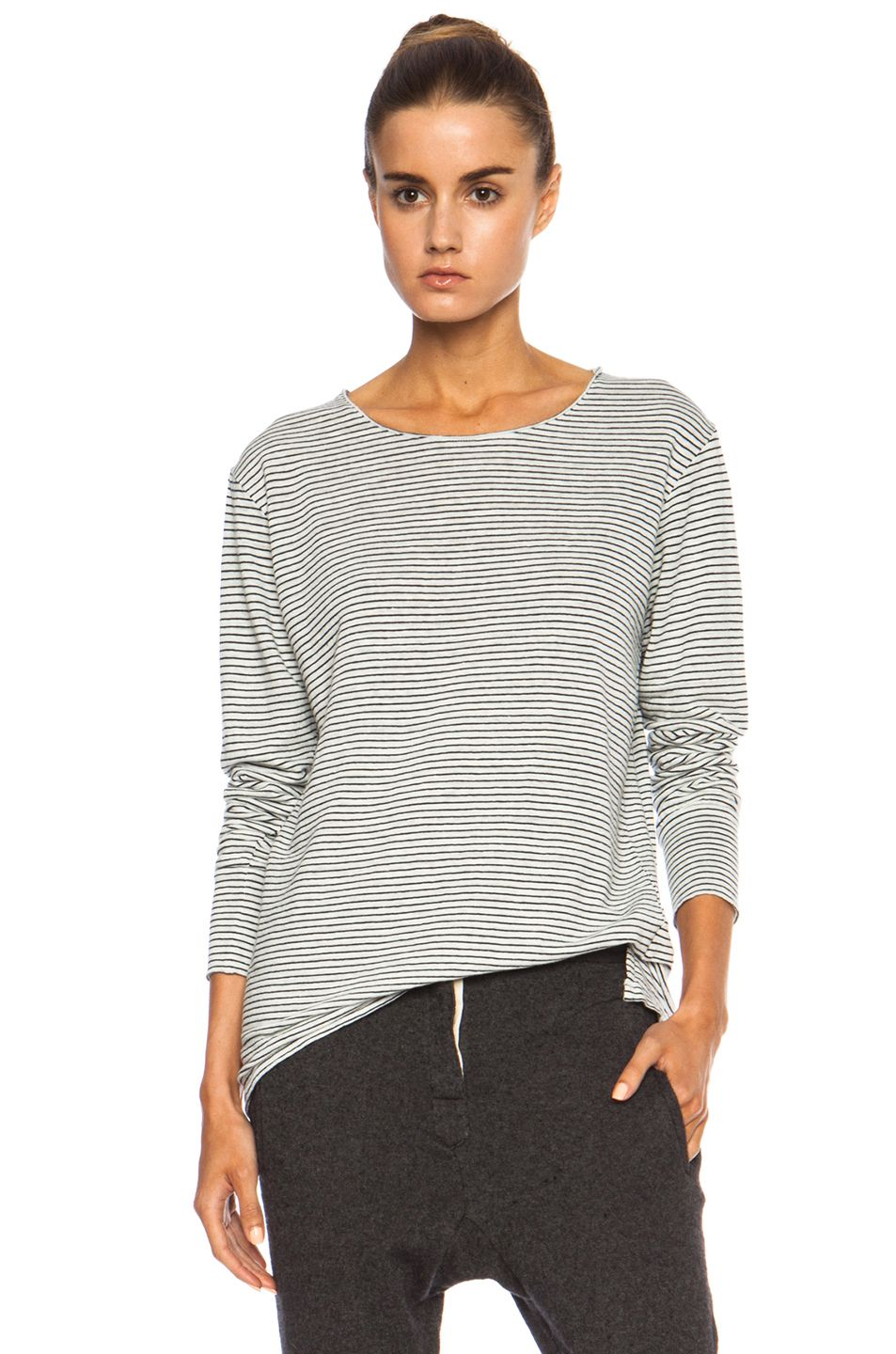 Black and white striped print tee top by Isabel Marant.